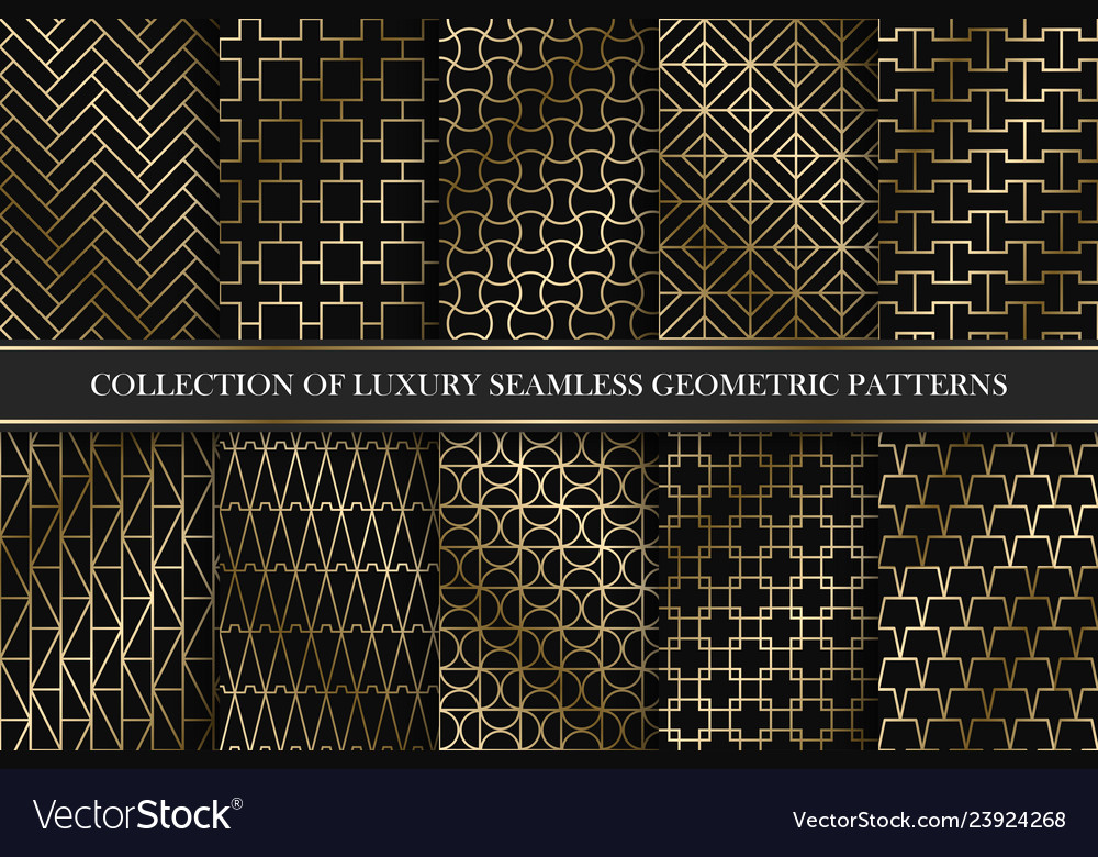 Collection of art deco geometric patterns