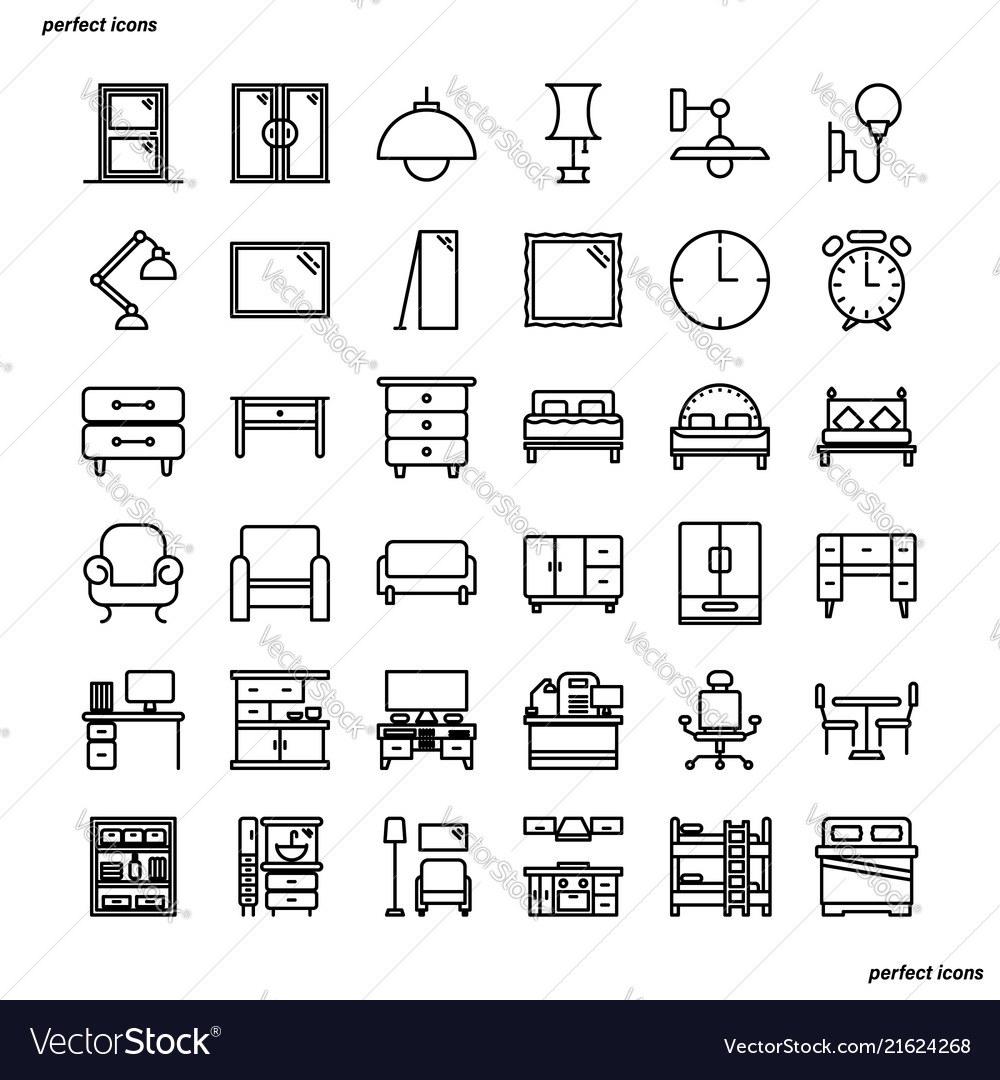 Furniture and home decoration outline icons