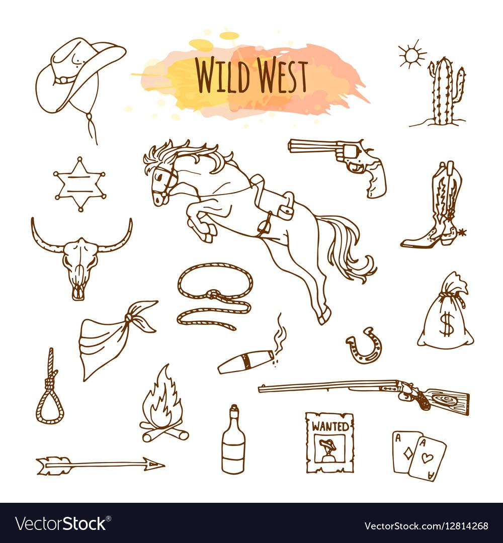 Hand drawn wild west vector image
