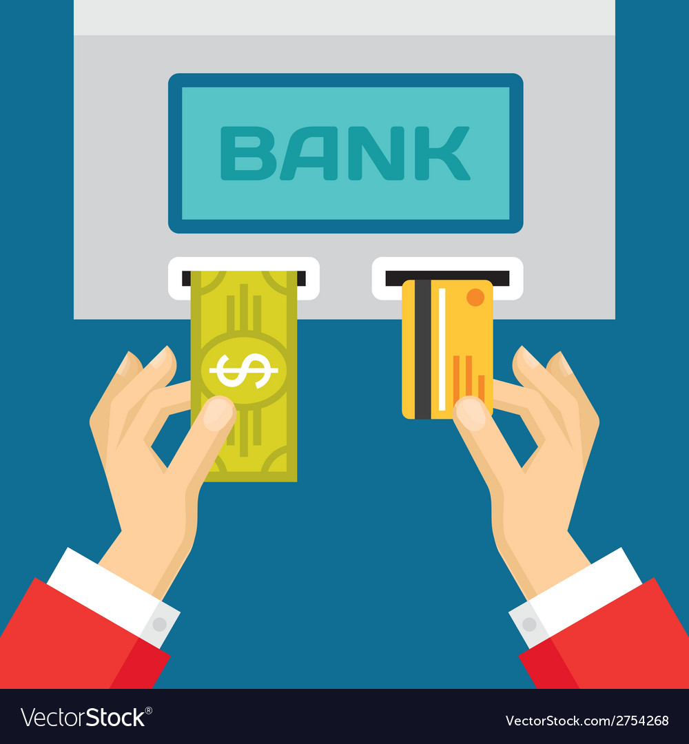 Human Hands with Plastic Card and Dollar - ATM vector image