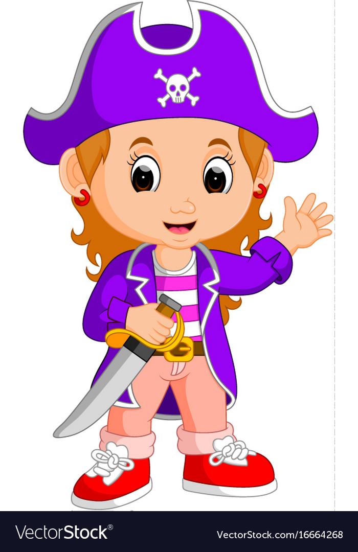 Kids girl pirate cartoon