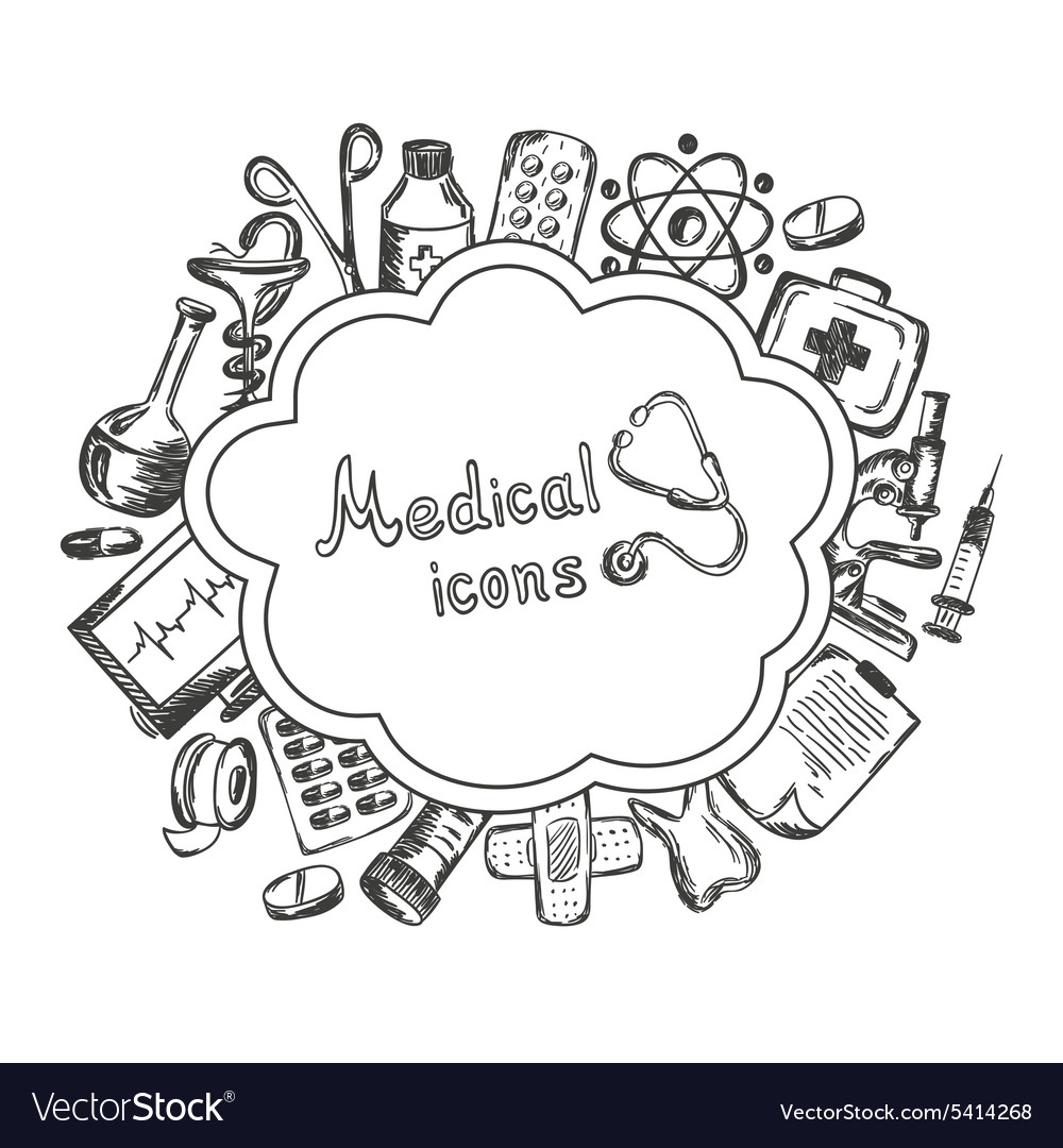 Medical icons set on a white background