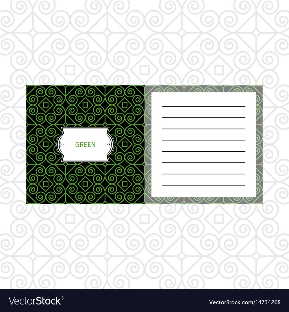 Notepad design with green geometric pattern