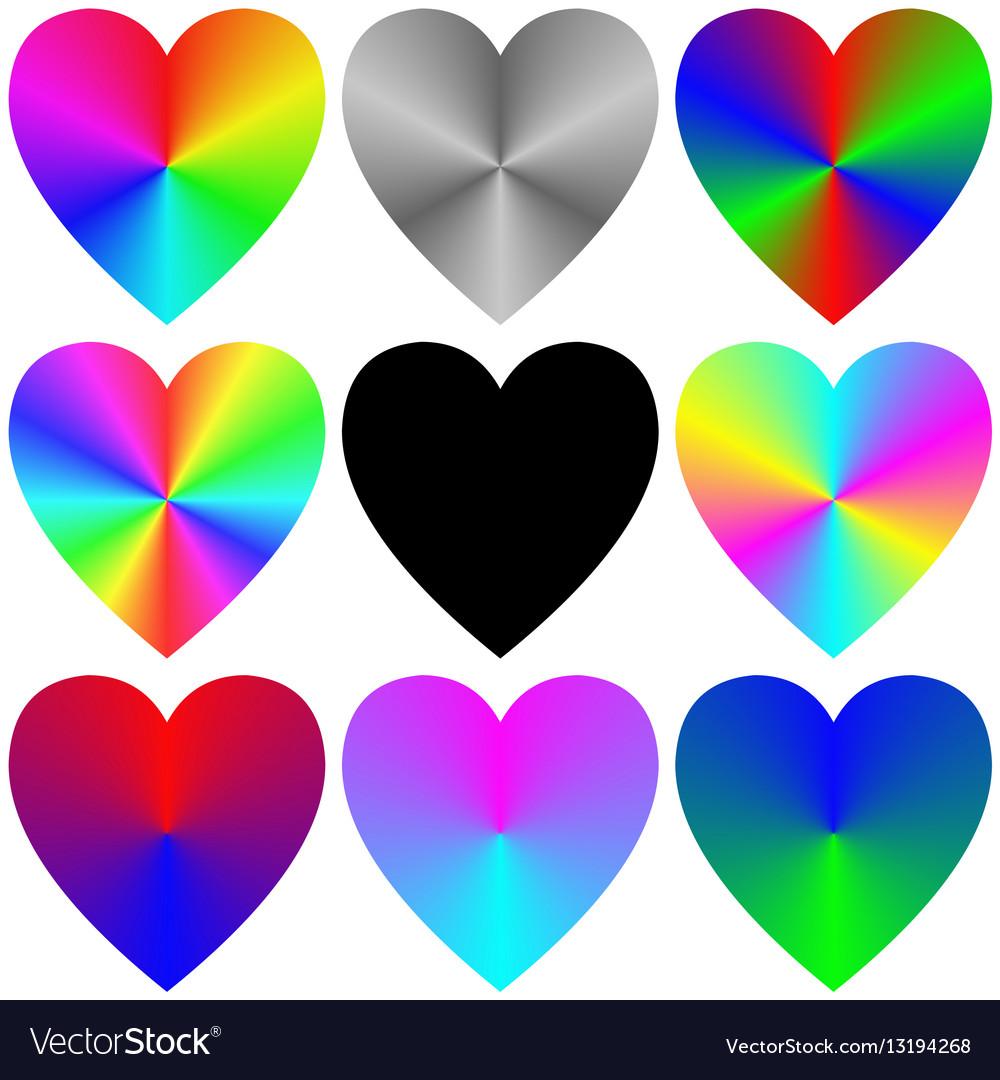 Rainbow gradient heart icon template set