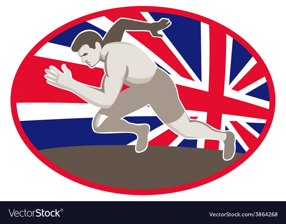 Runner track and field athlete british flag