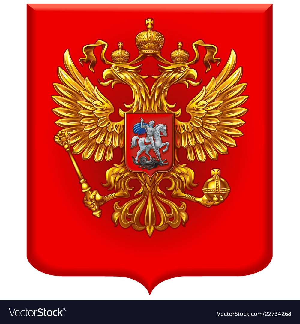 Russian coat of arms on a red shield