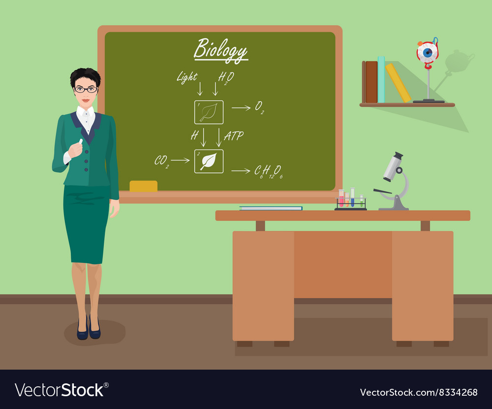 School Biology female teacher in audience class