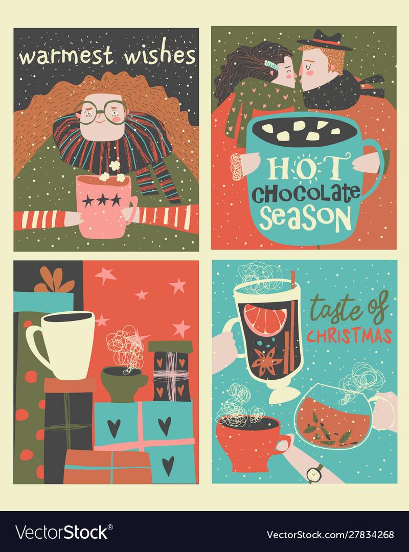Set cartoon christmas cards with winter