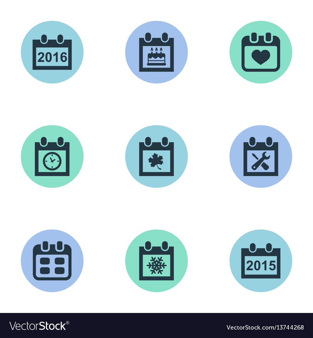 Set of simple date icons