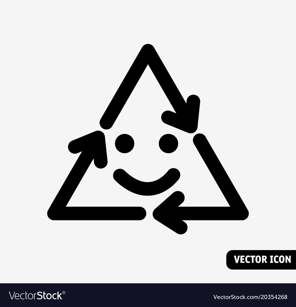 Smile recycling symbol black and white icon vector image