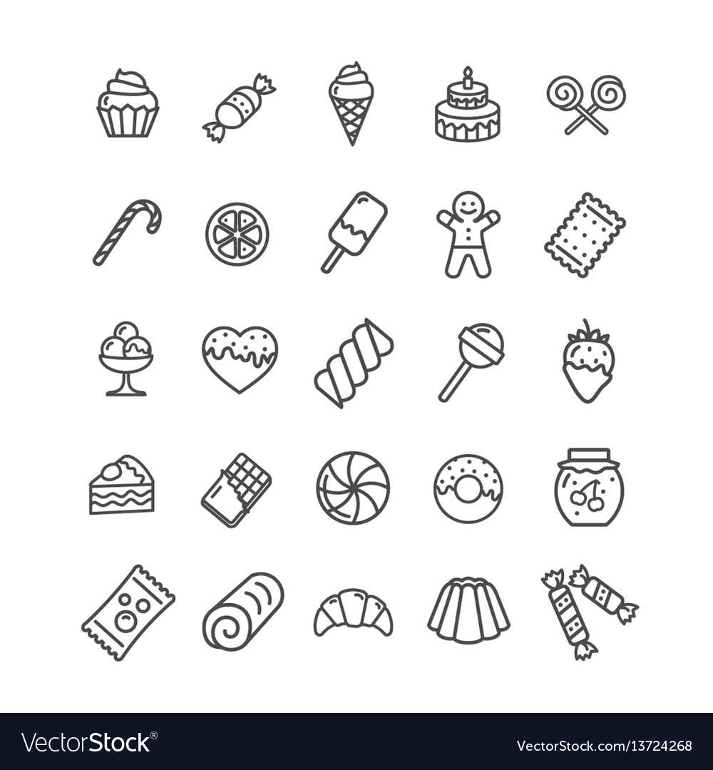 Sweets and bakery icon black thin line set vector image