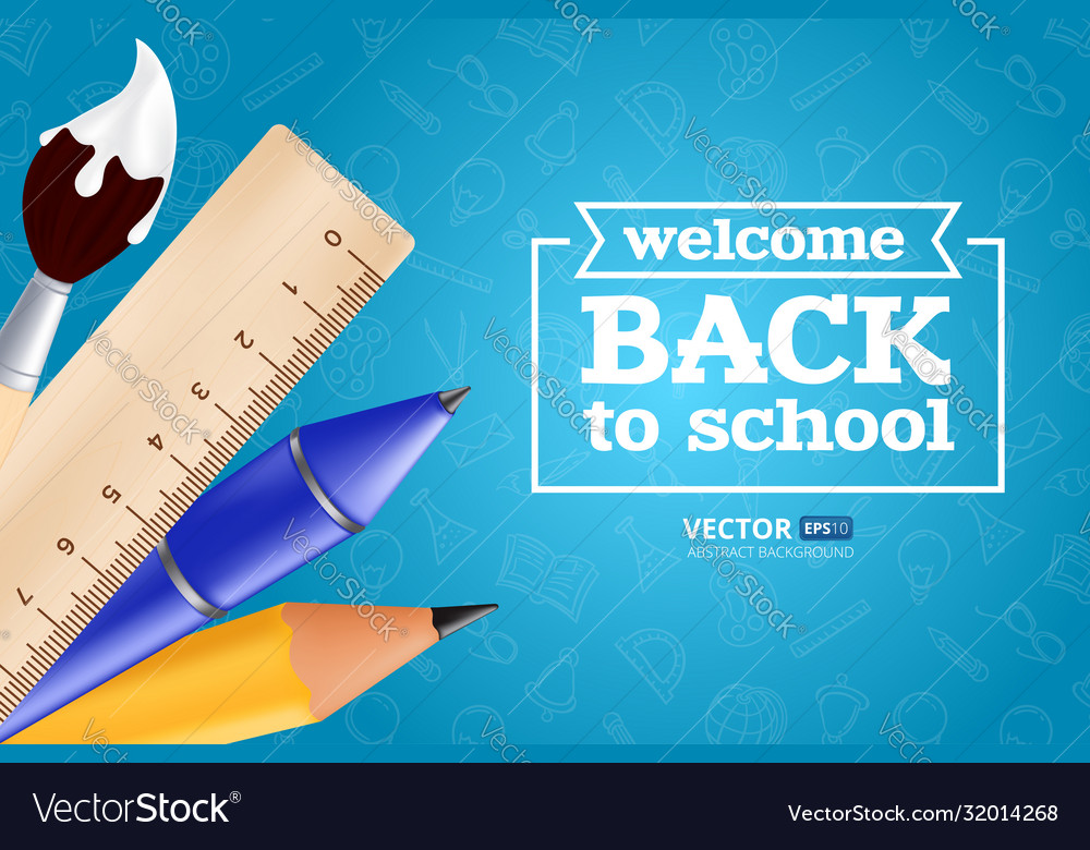 Welcome back to school - objects set with pencil