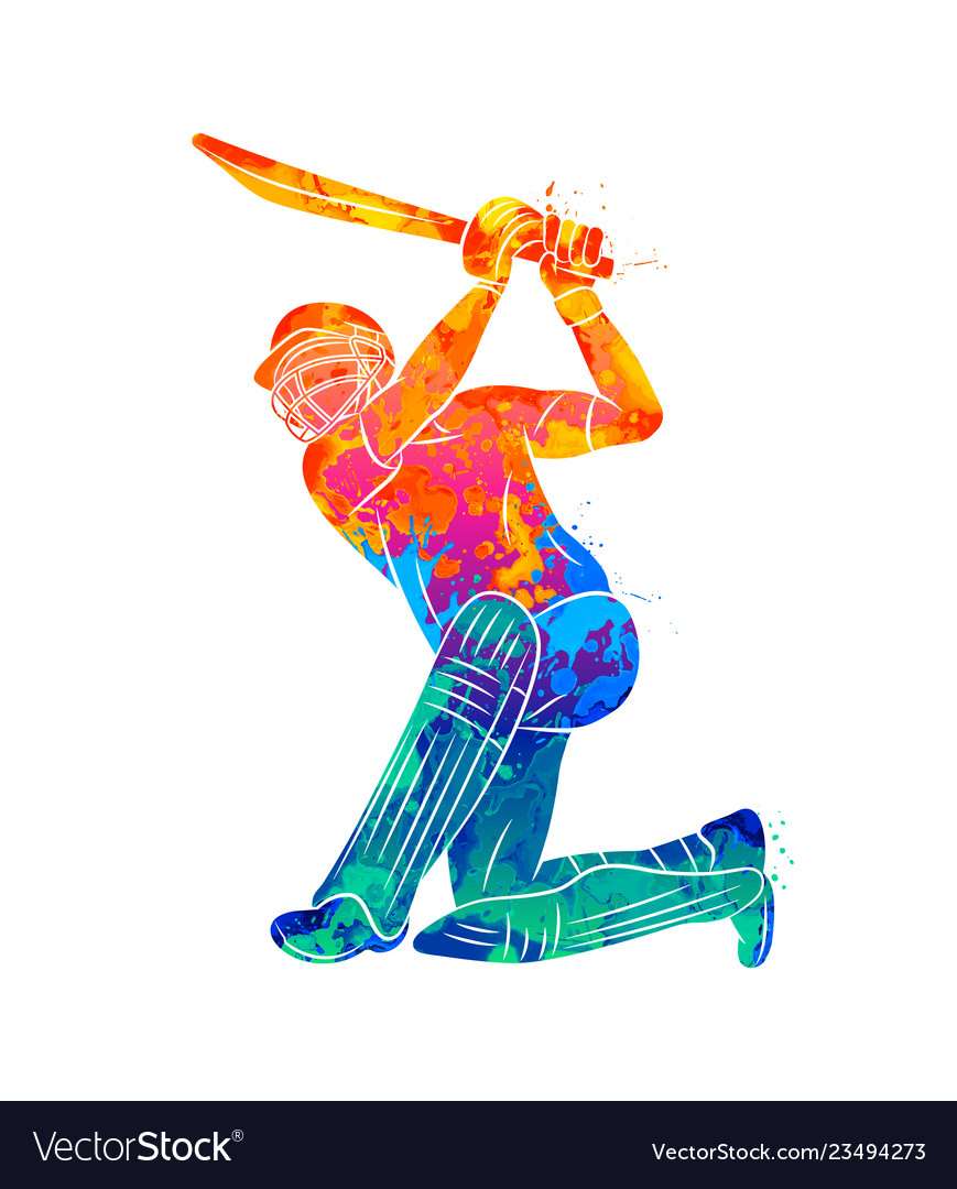 Abstract batsman playing cricket from splash of