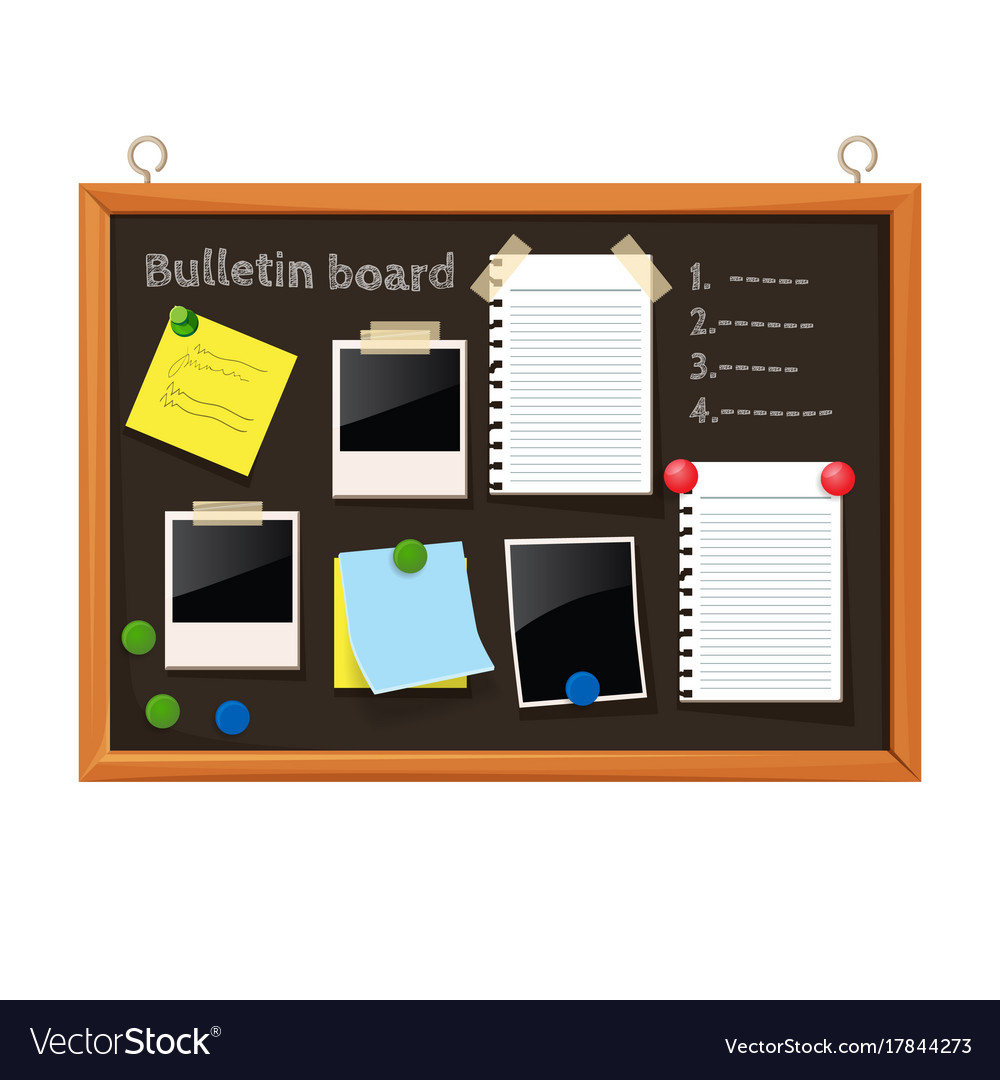 Bulletin board with paper notes do list on black