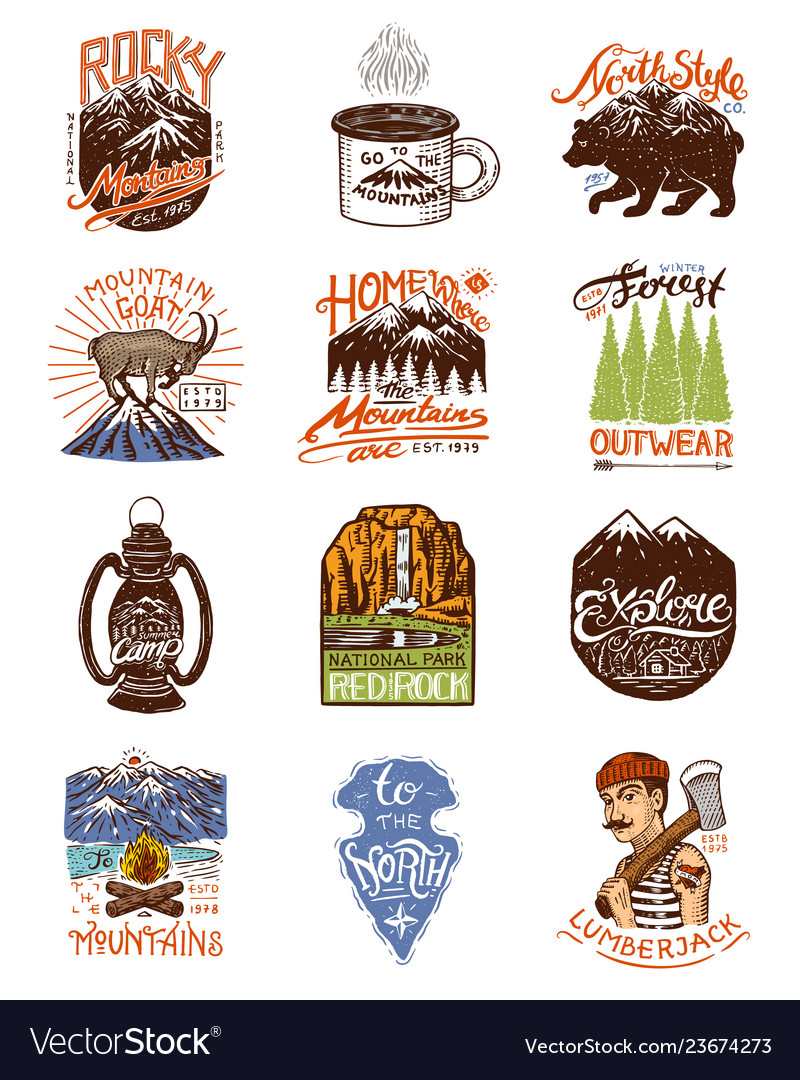 Camping logo and labels mountains and lumberjack