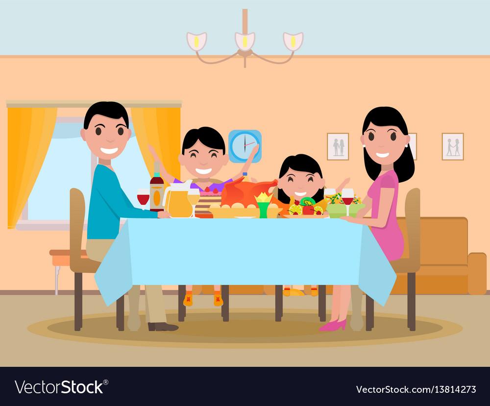 Cartoon happy family festive dinner table