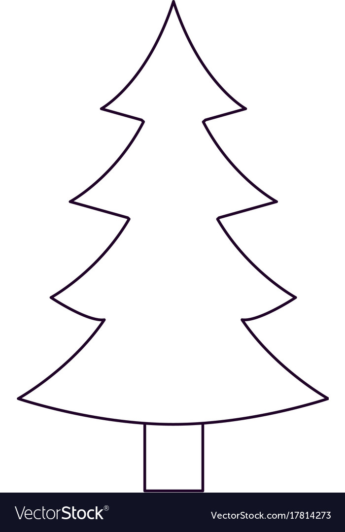 Christmas tree with trunk silhouette on white