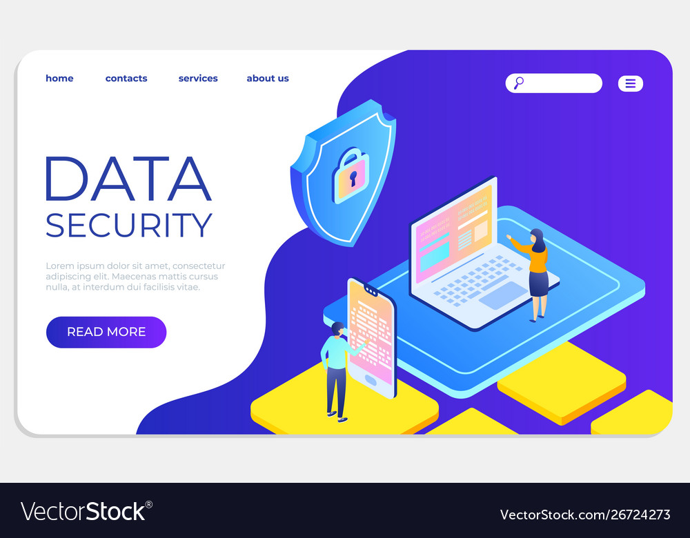 Data security isometric landing concept protect