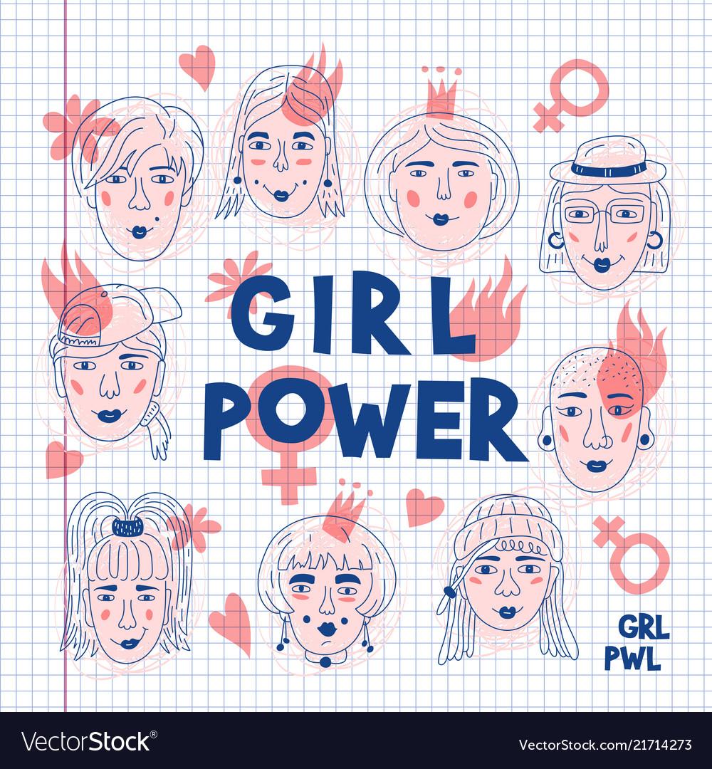 Feminism poster girl power card feminists womens