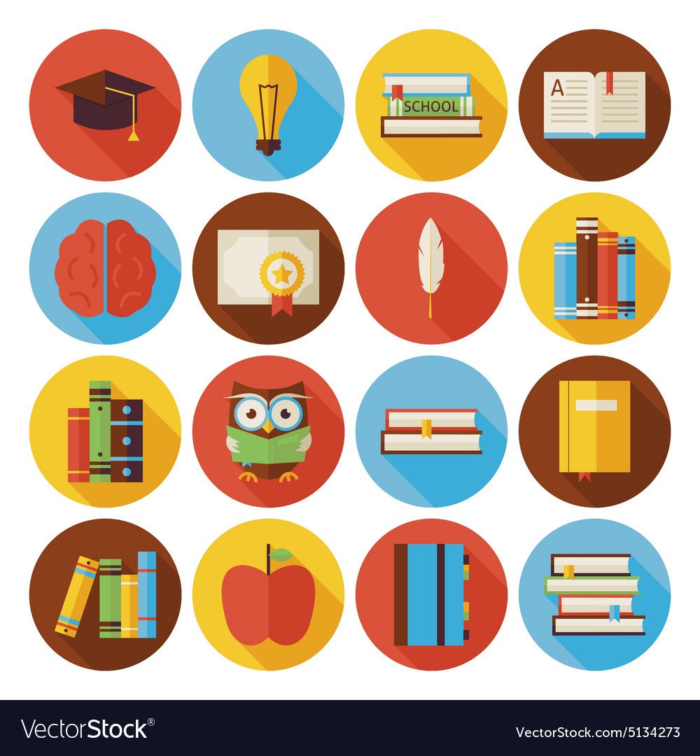 Flat Reading Knowledge and Books Circle Icons Set