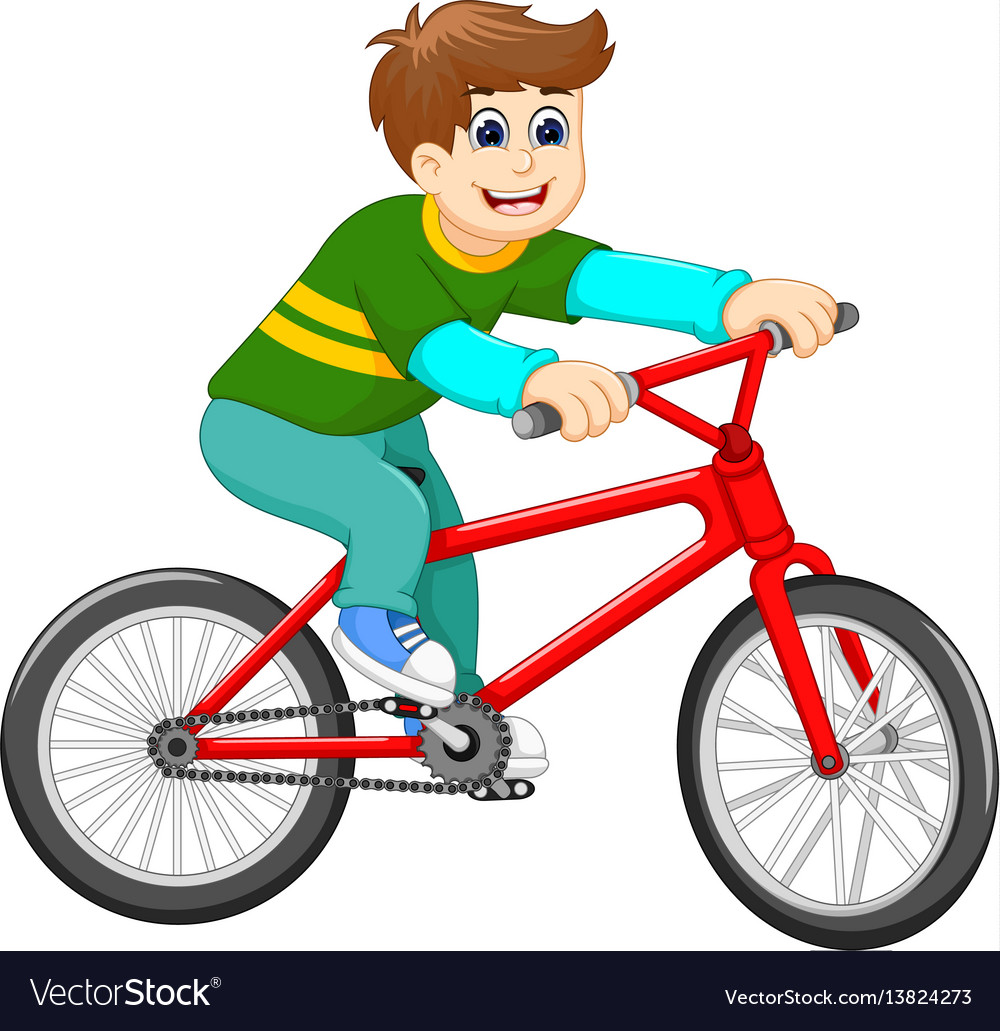 funny boy cartoon riding bicycle royalty free vector image