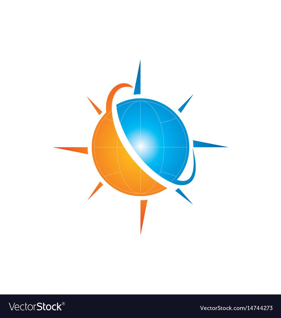 Globe planet arrow logo vector image