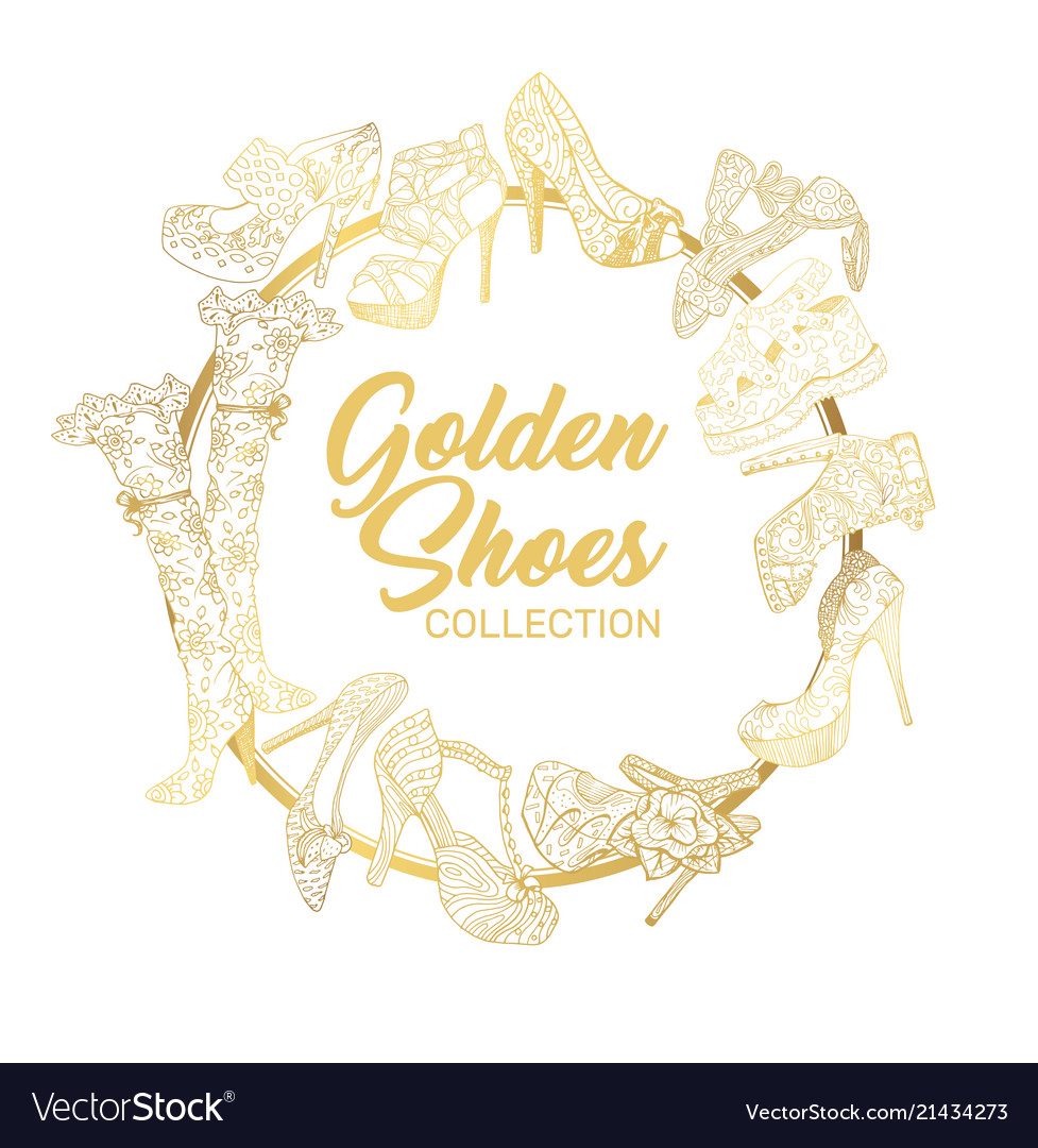 Golden shoes collection sign creative trendy logo