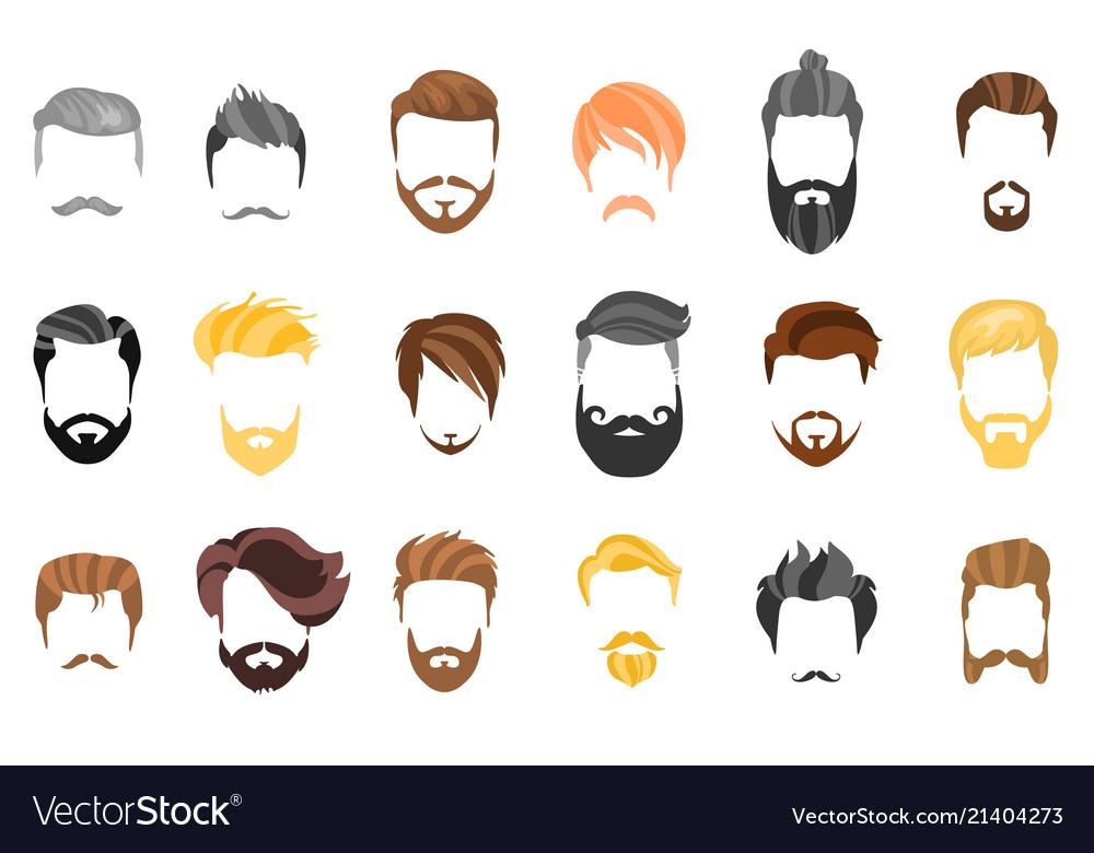 Hair beard and face hair mask cutout cartoon