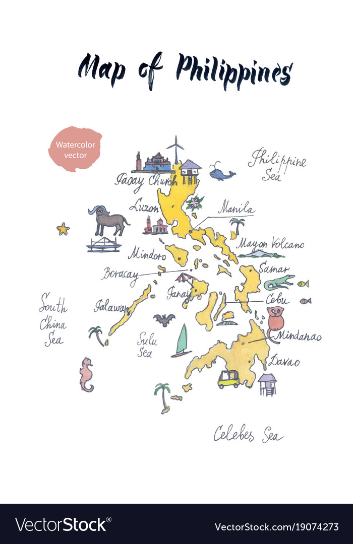 Map Of Philippines Watercolor Royalty Free Vector Image