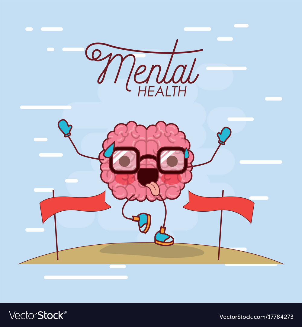 Mental health poster of brain cartoon with glasses vector image