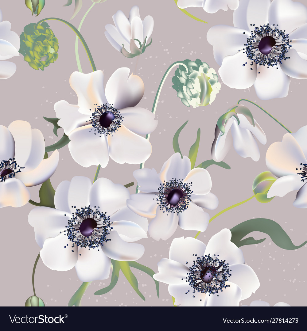 Wedding anemones floral pastel realisitic pattern