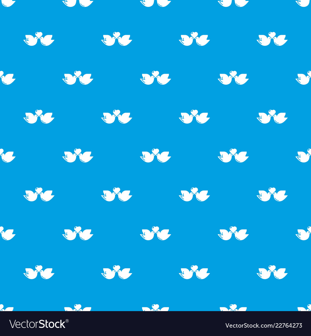 Wedding doves heart pattern seamless blue