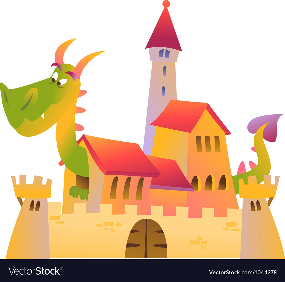 cartoon dragon and castle royalty free vector image rh vectorstock com castle victorian nebraska castle victoria bc