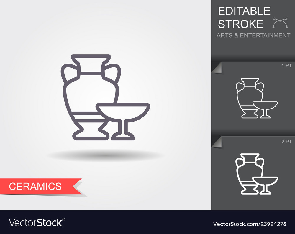 Ceramic vases line icon with shadow and editable