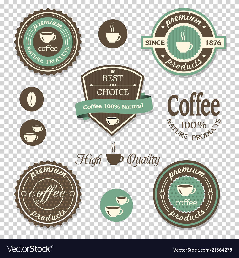 Coffee iconslabels posters signs banners set on
