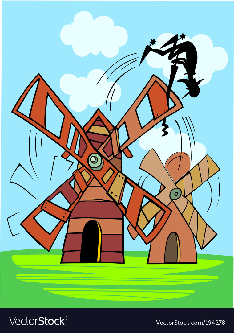 Don Quixote and windmill vector image