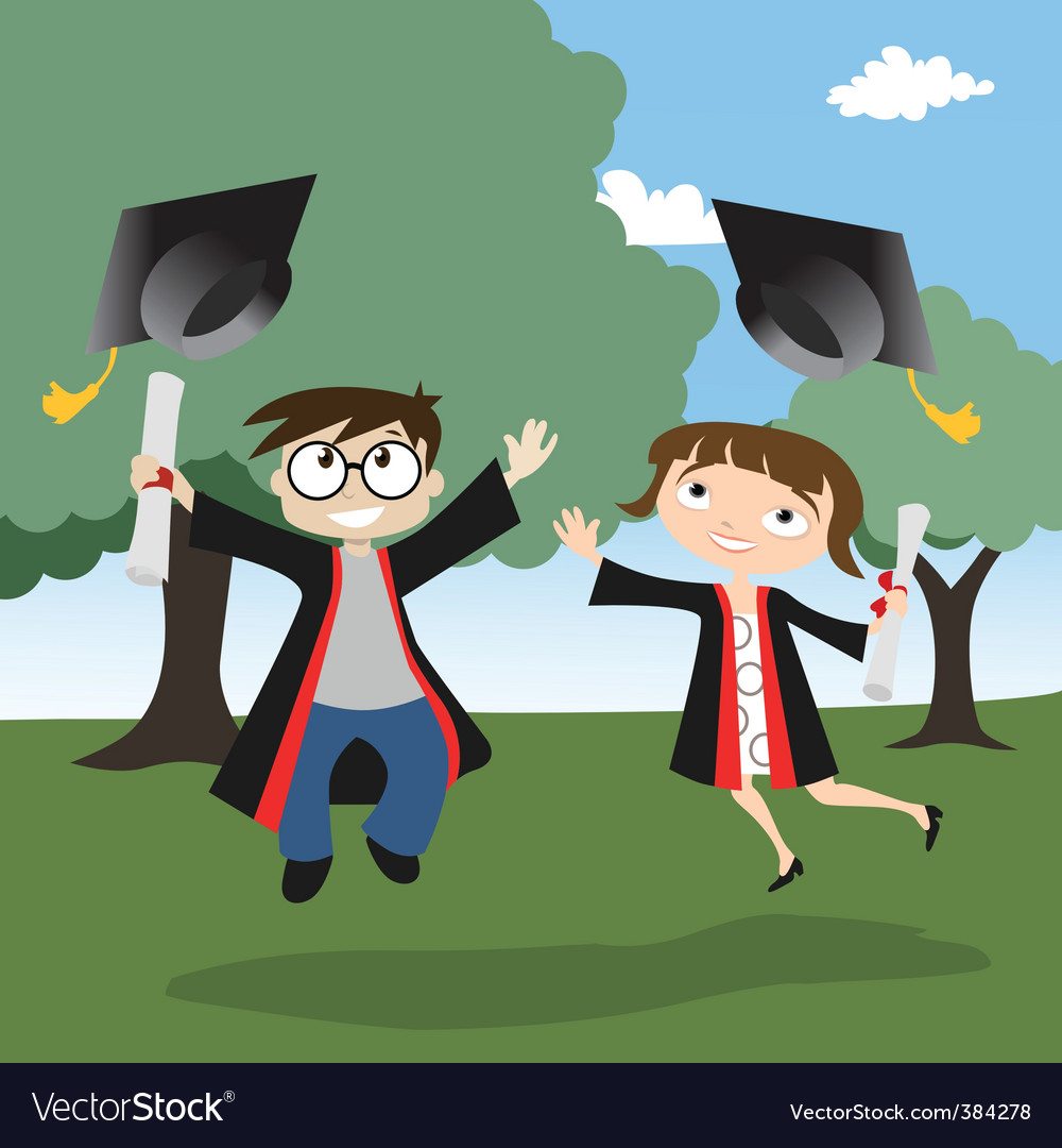 boy and girl graduate background. Keywords: