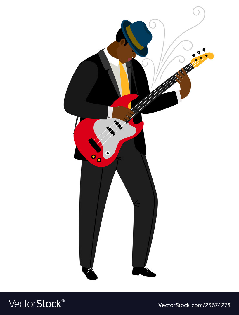 Jazz guitarist in hat with musical instrument