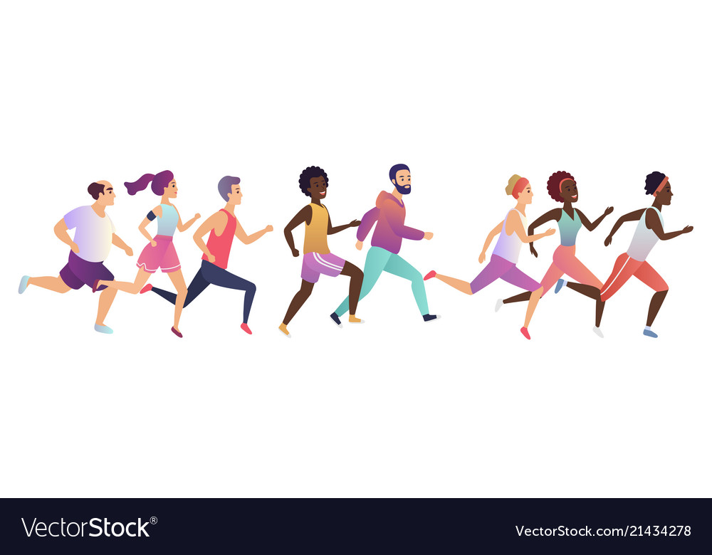 Jogging running people sport running group
