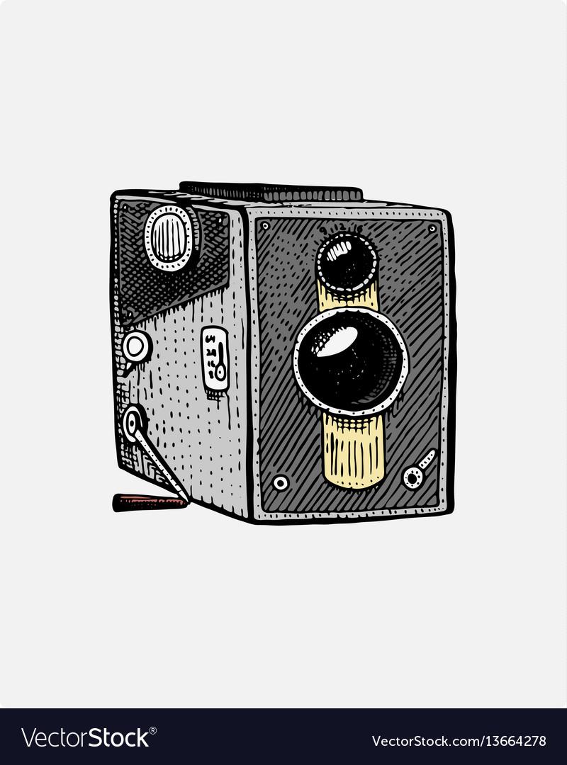 Photo movie or film camera vintage engraved hand