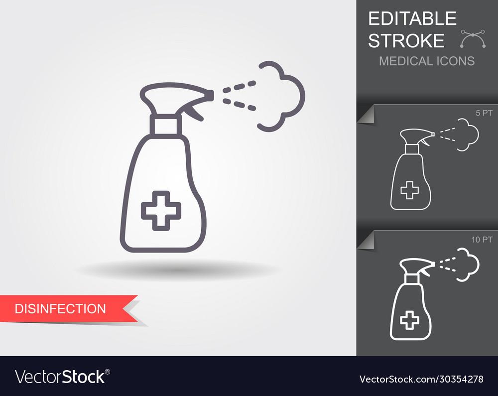 Sanitizer spray line icon with editable stroke