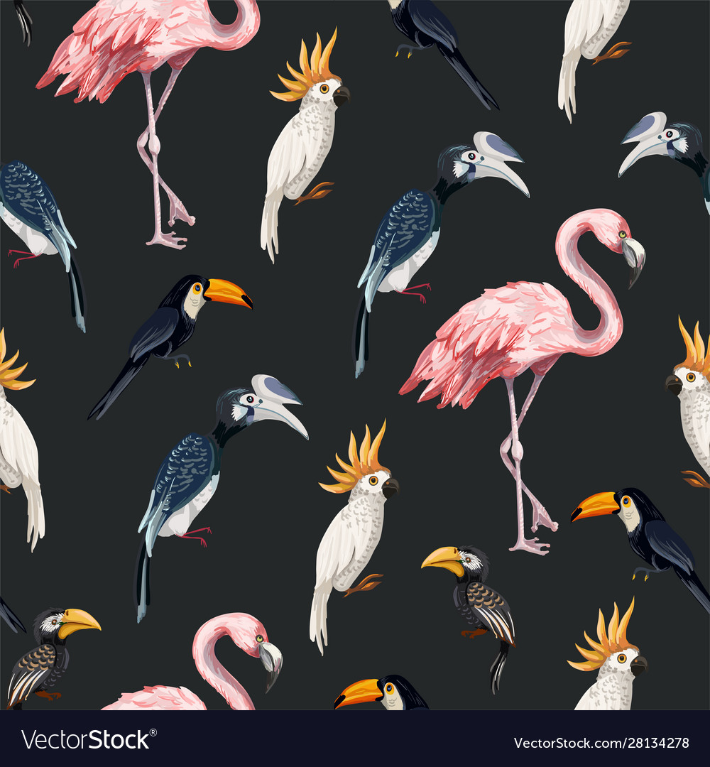 Seamless pattern with junngle bird such as