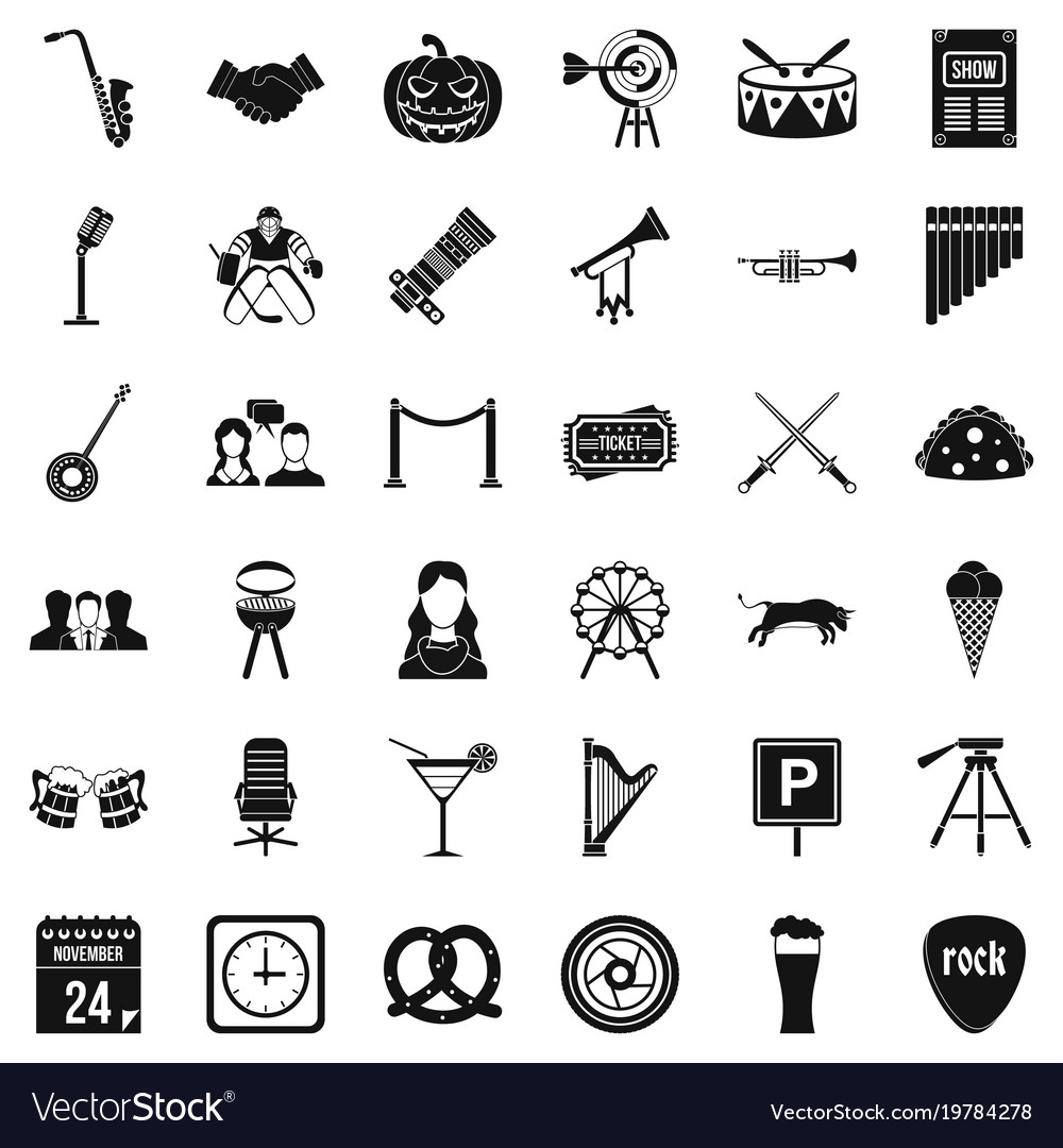 Session icons set simple style