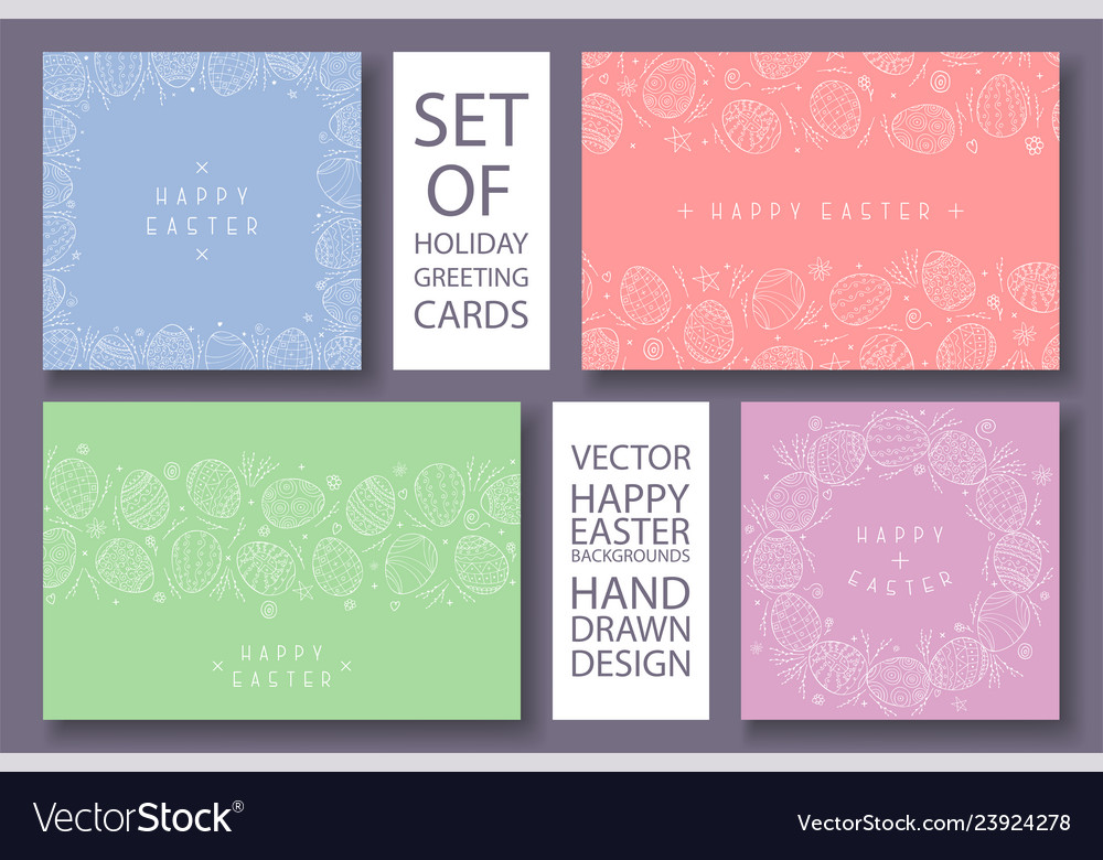 Set happy easter colorful cards