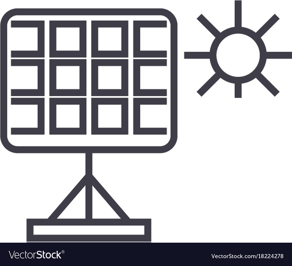 Solar panel linear icon sign symbol on