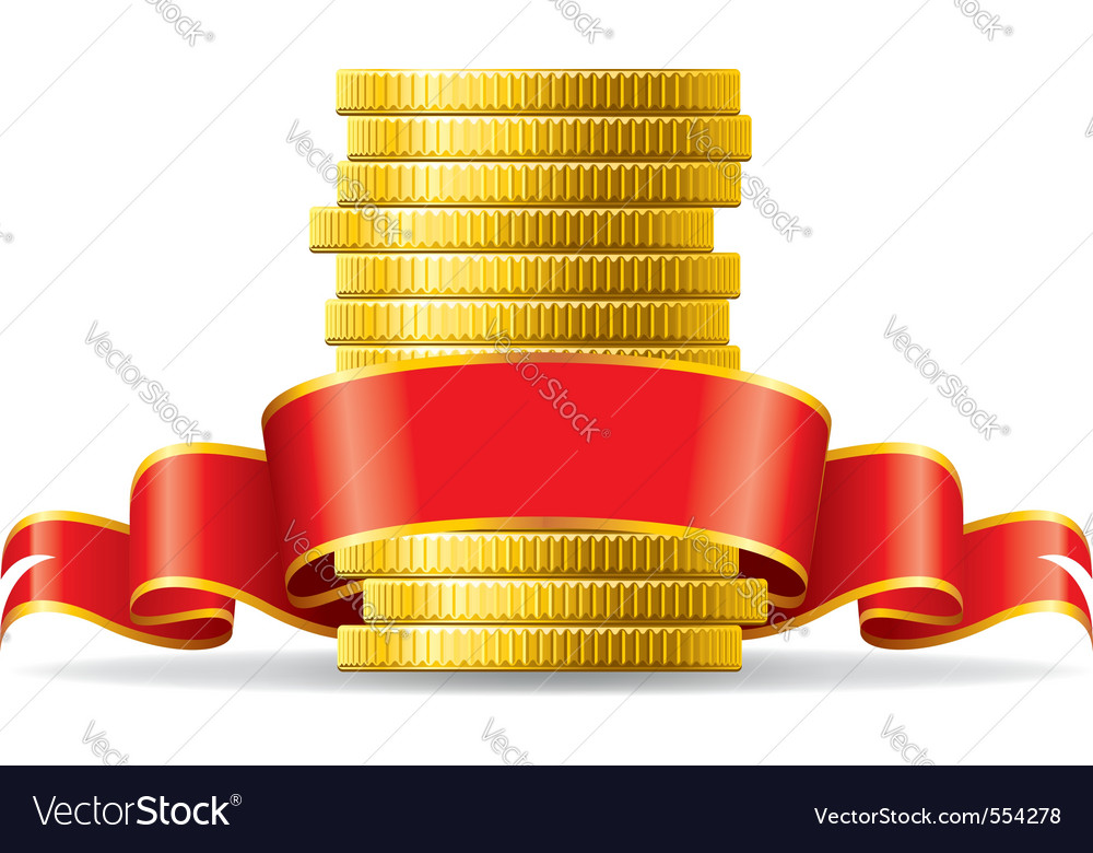 Stack of coins with a red ribbon concept of pecuni vector image