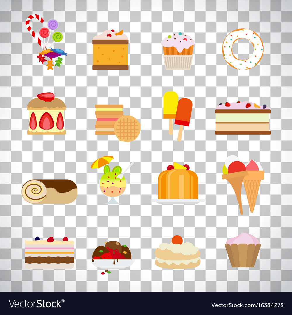 Sweets and candies flat icons