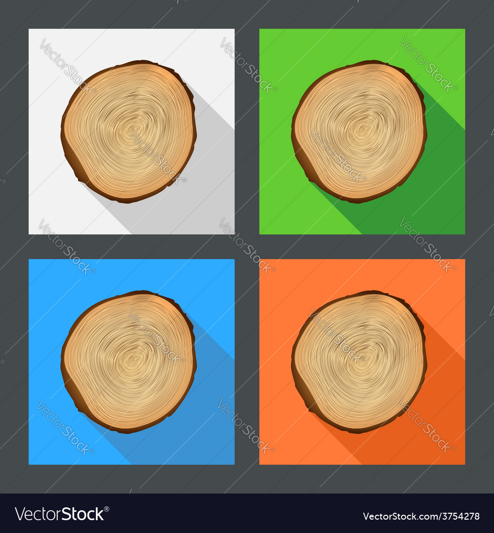Tree growth rings flat icons vector image