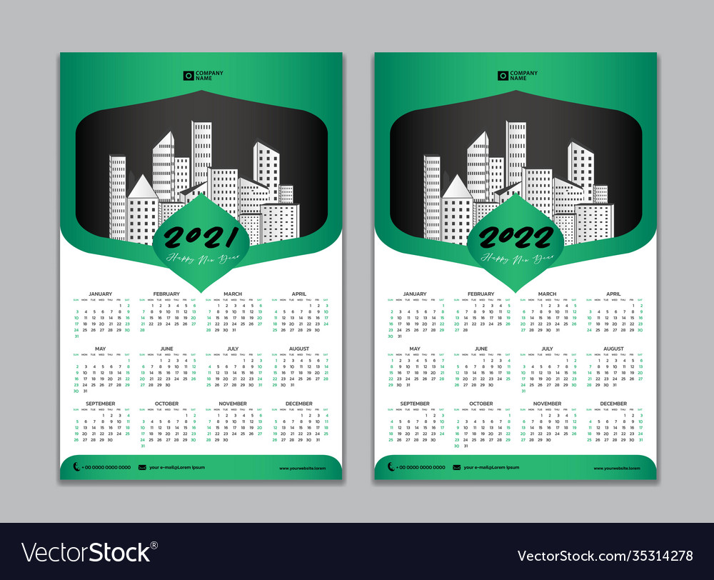 Wall Calendar 2022.Wall Calendar Design Calendar 2021 2022 Template Vector Image