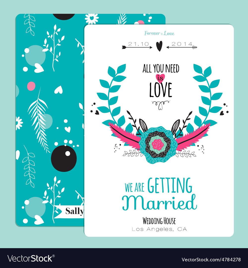 Wedding romantic floral Save the Date invitation